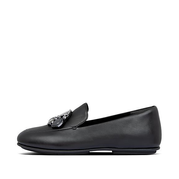 핏플랍 로퍼 FitFlop Womens Lena Leather Loafers,Black