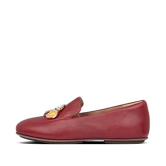 핏플랍 로퍼 FitFlop Womens Lena Leather Loafers,Maroon