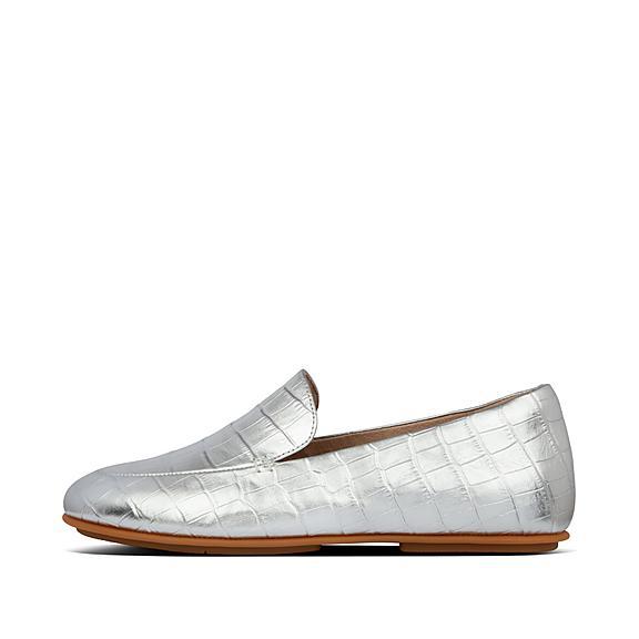 핏플랍 레나 로퍼 FitFlop Womens Lena Leather Loafers,Silver