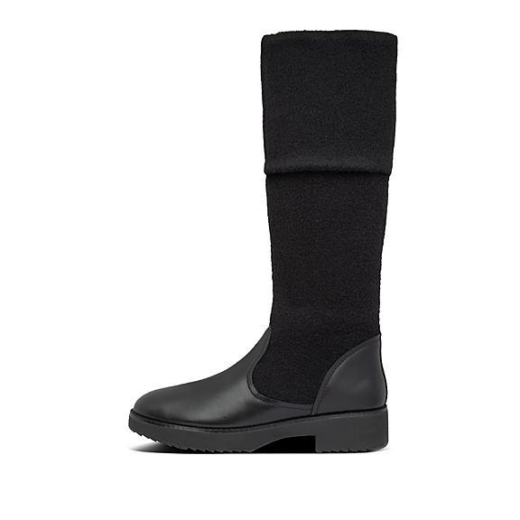 핏플랍 부츠 FitFlop Womens Nisse Leather-Wool Boots,All Black