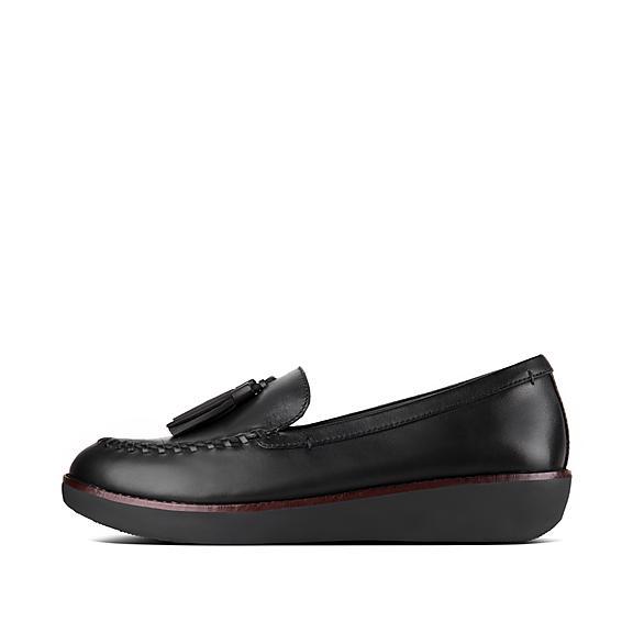 핏플랍 로퍼 FitFlop Womens PETRINA Leather Loafers,Black