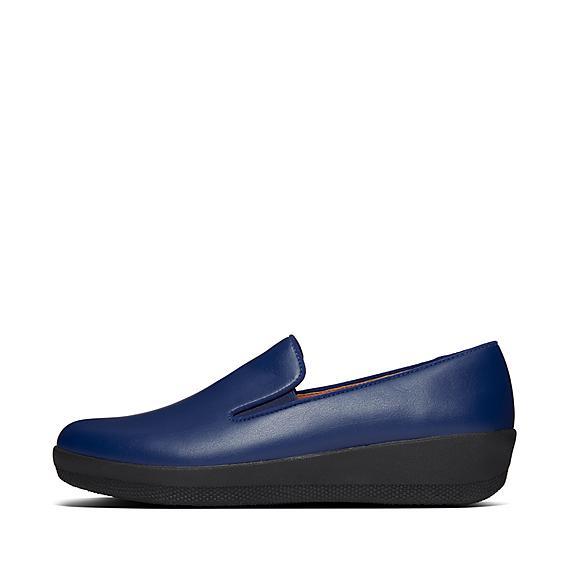 핏플랍 로퍼 슬립온 FitFlop Womens Superskate Pu Loafers,Aurora Blue