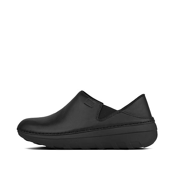 핏플랍 슈퍼로퍼 가죽 로퍼 FitFlop Womens SUPERLOAFER Leather Loafers,All Black