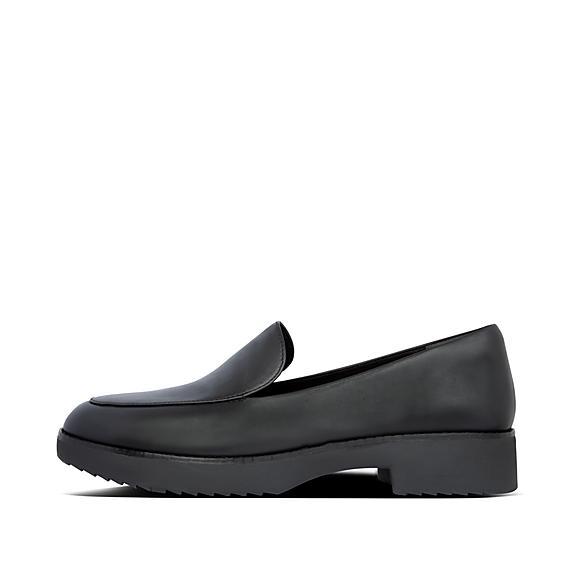 핏플랍 로퍼 FitFlop Womens Talia Leather Loafers,All Black
