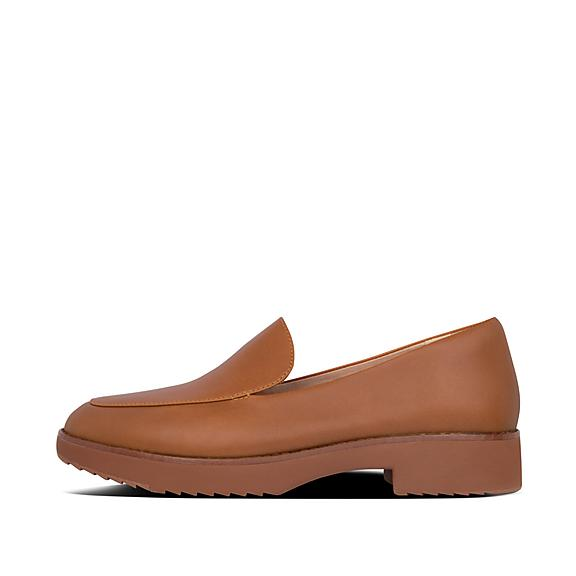핏플랍 로퍼 FitFlop Womens Talia Leather Loafers,Light Tan