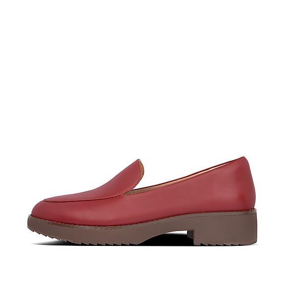 핏플랍 로퍼 FitFlop Womens Talia Leather Loafers,Maroon