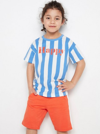 54085c16 Striped Oversize T-shirt with Print