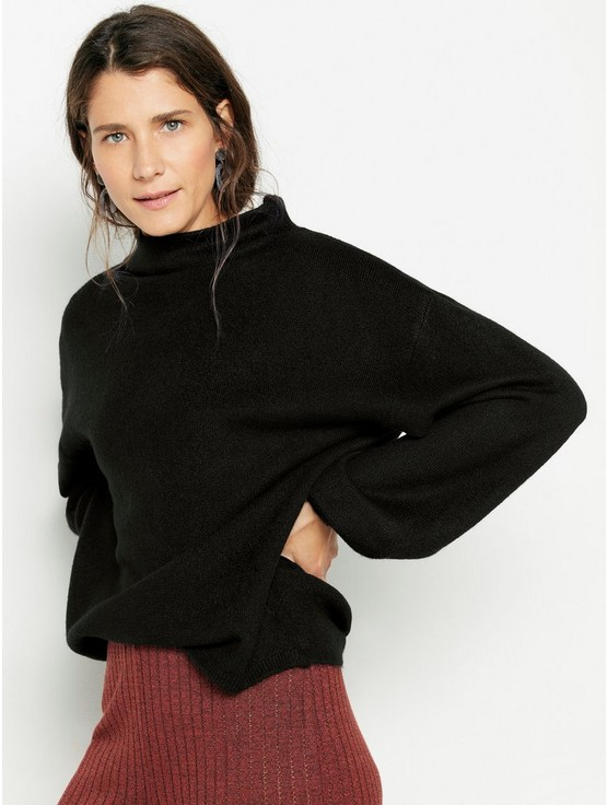Oversize stickad tröja med ballongärm | Lindex