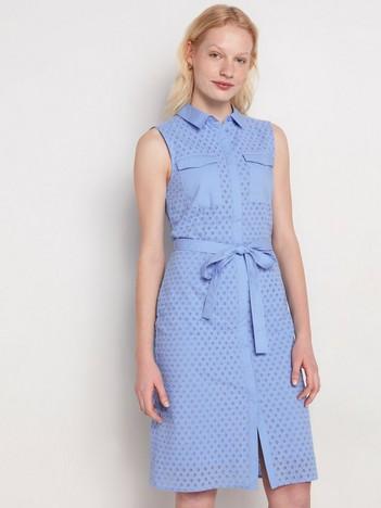 Blå ärmlös klänning med broderie anglaise