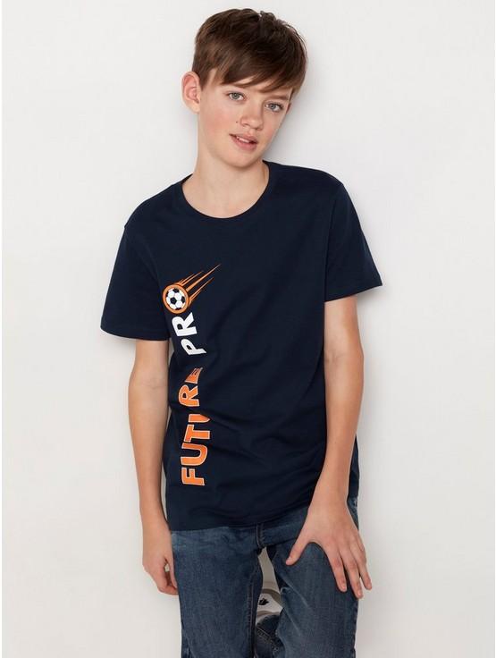 Mørk marineblå T skjorte med fotball trykk | Lindex
