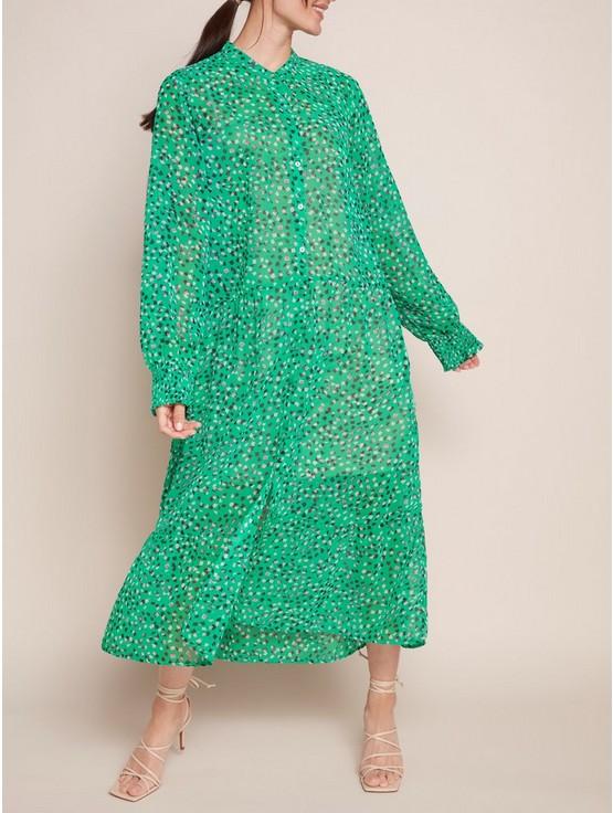 Mönstrad grön maxiklänning | Lindex