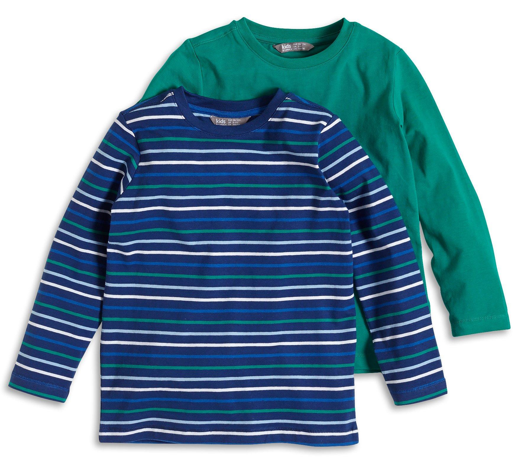 Cotton Blend Boys Long Sleeve Blue Shirt 2 Pack