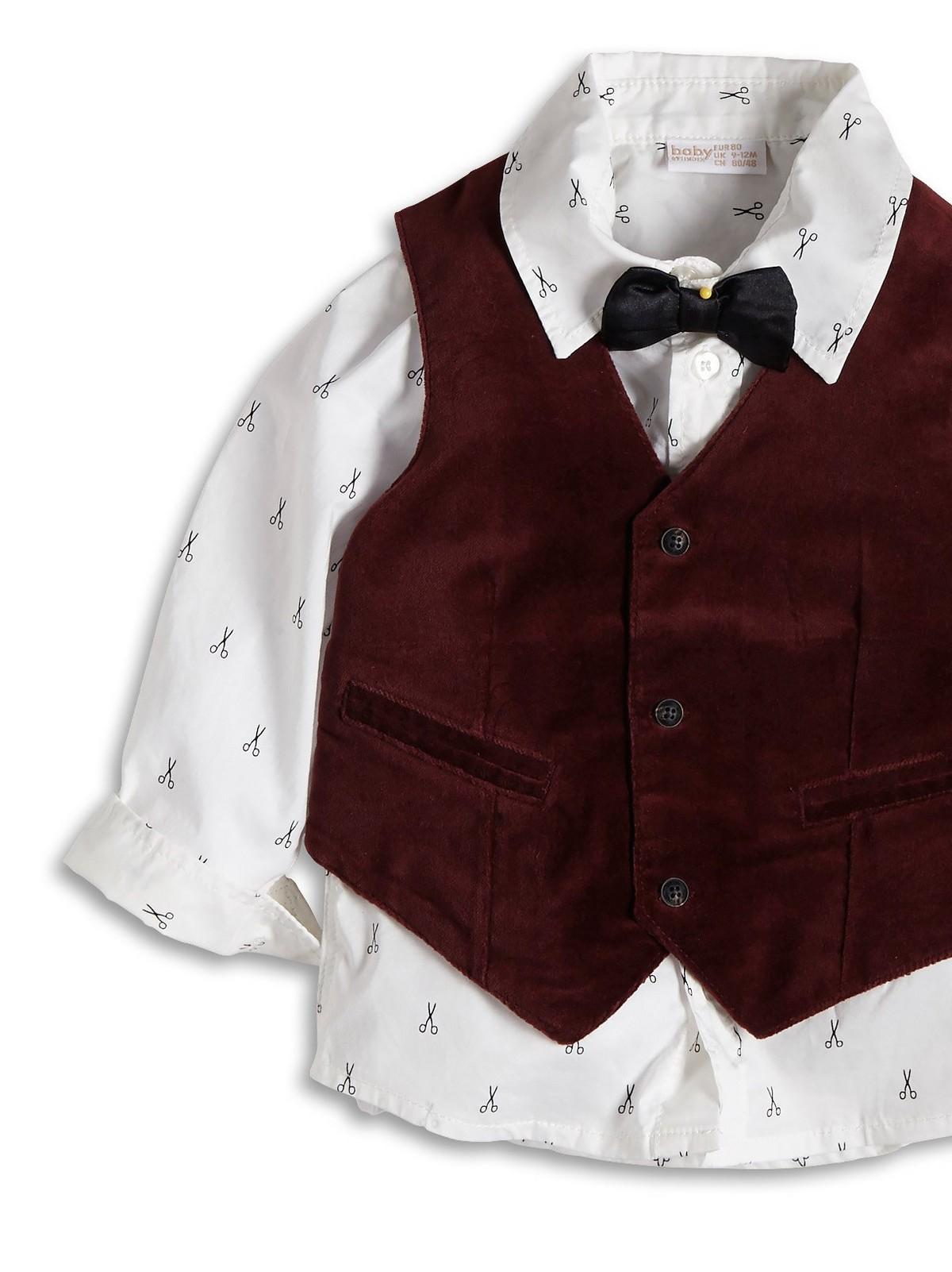 BOYS BURGUNDY VELVET VEST with Black Satin Bowtie option