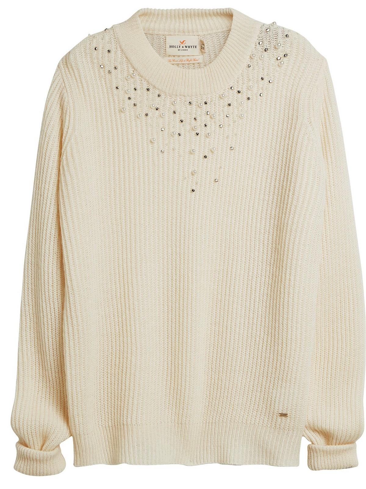 Strikket genser med perler | Lindex