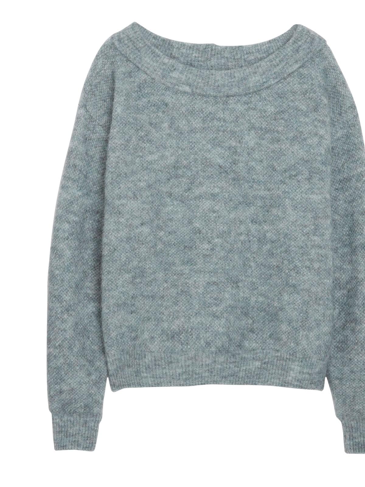 NY* Strikket genser i alpakka ullblanding med rund hals