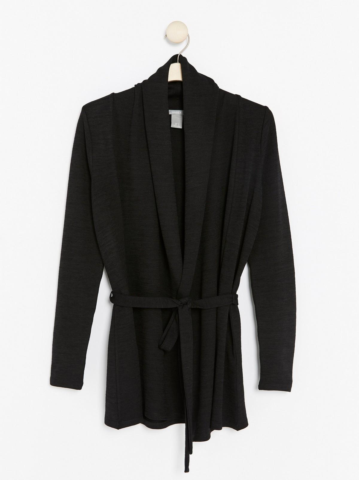 Finstickad svart cardigan med knytskärp | Lindex