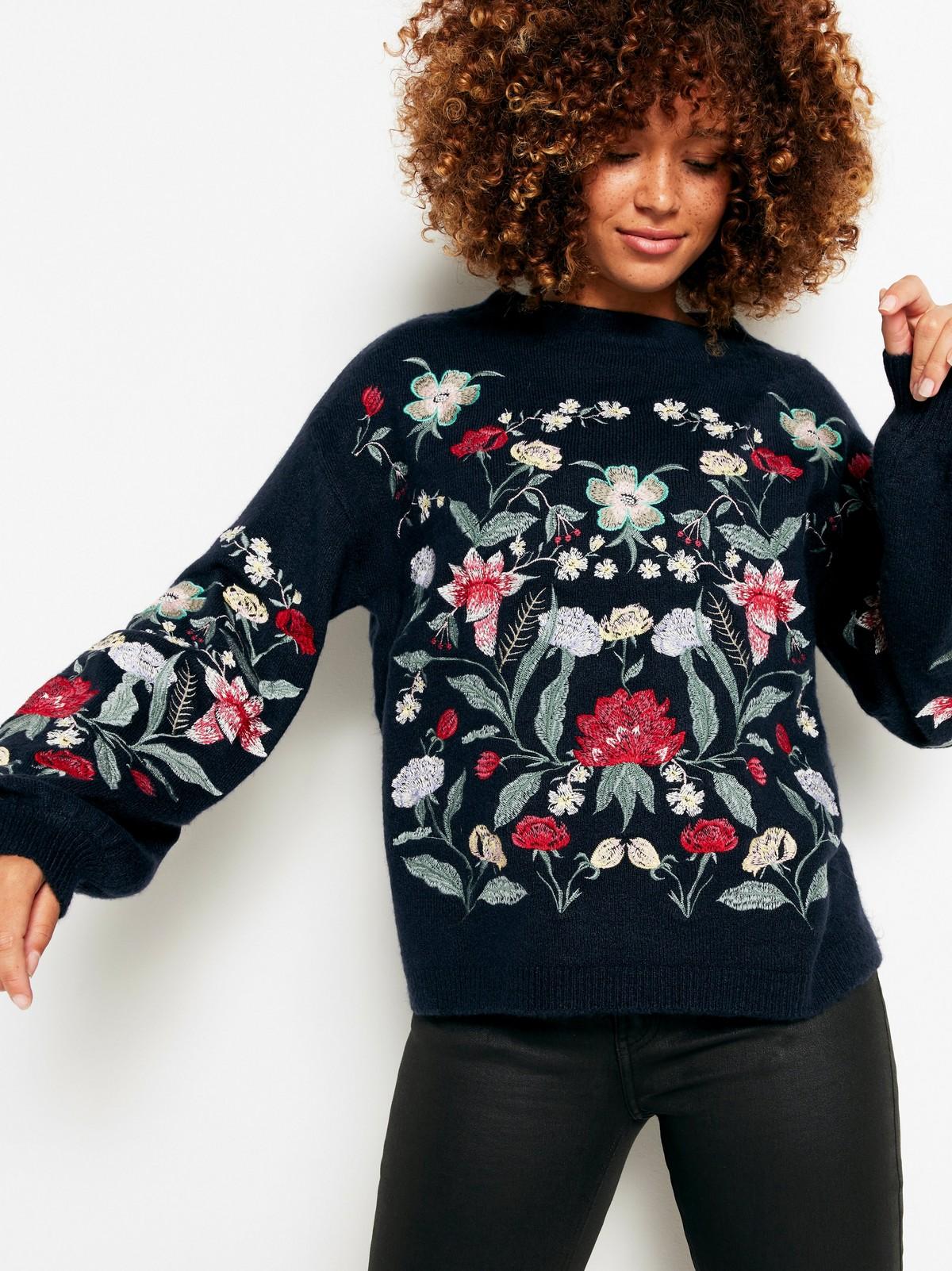 Stickad tröja med blommor | Lindex