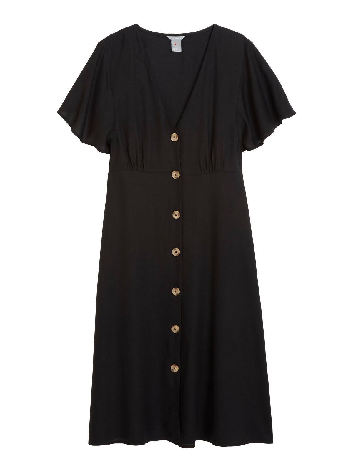 Viskosklänning med knappar   Lindex