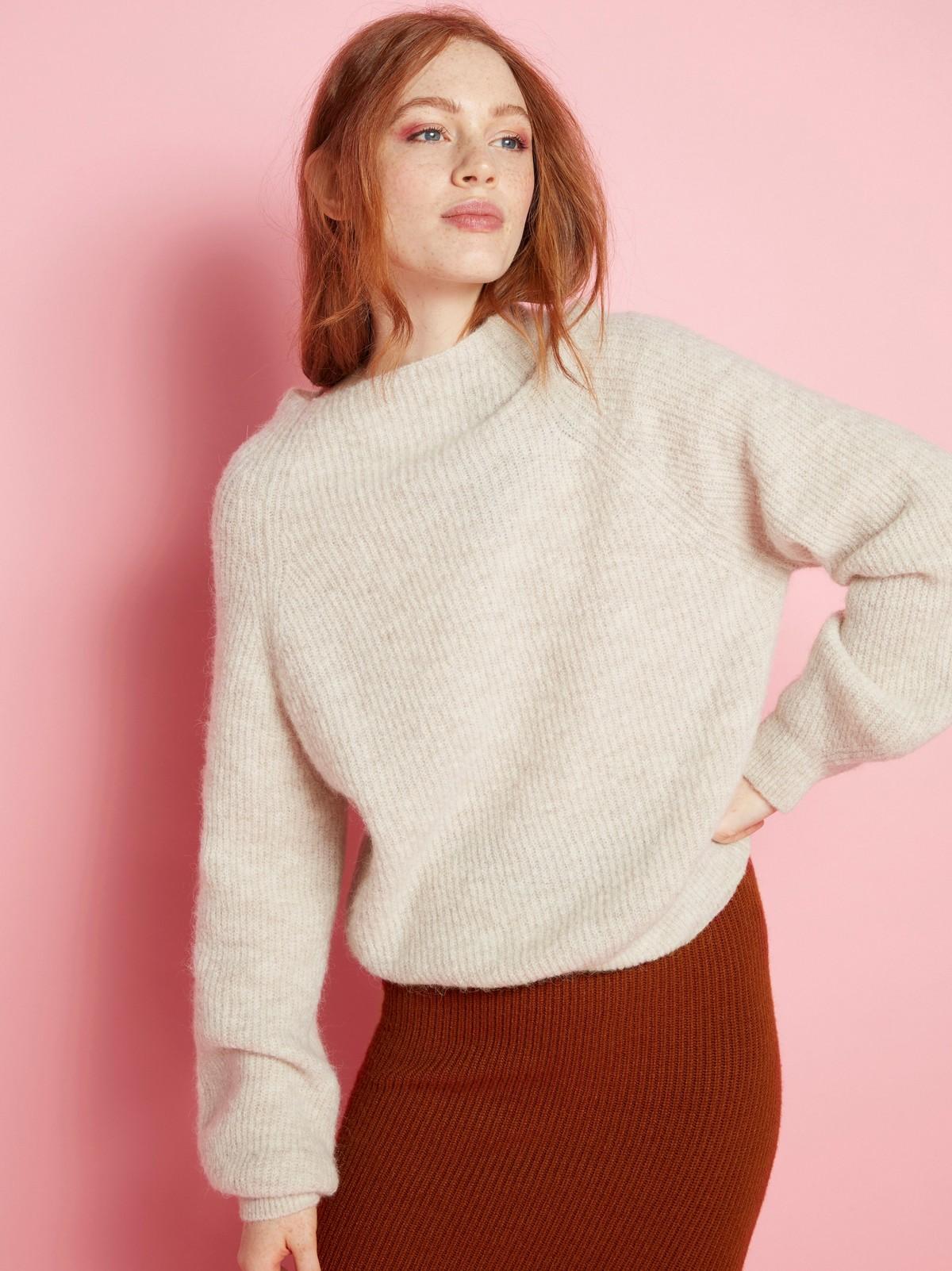 Strikket genser i alpakkablanding
