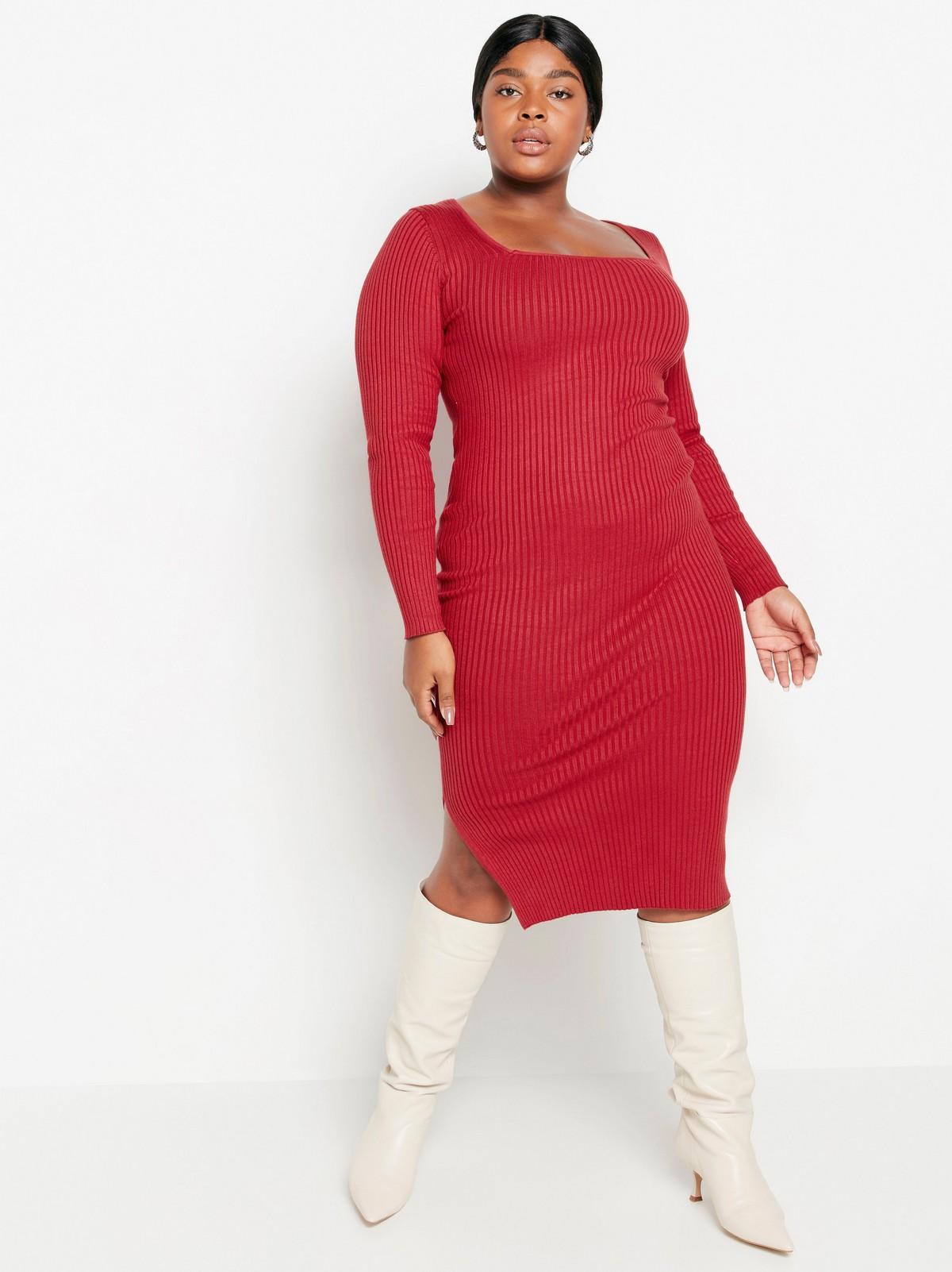 Stickad röd klänning med glitter | Lindex