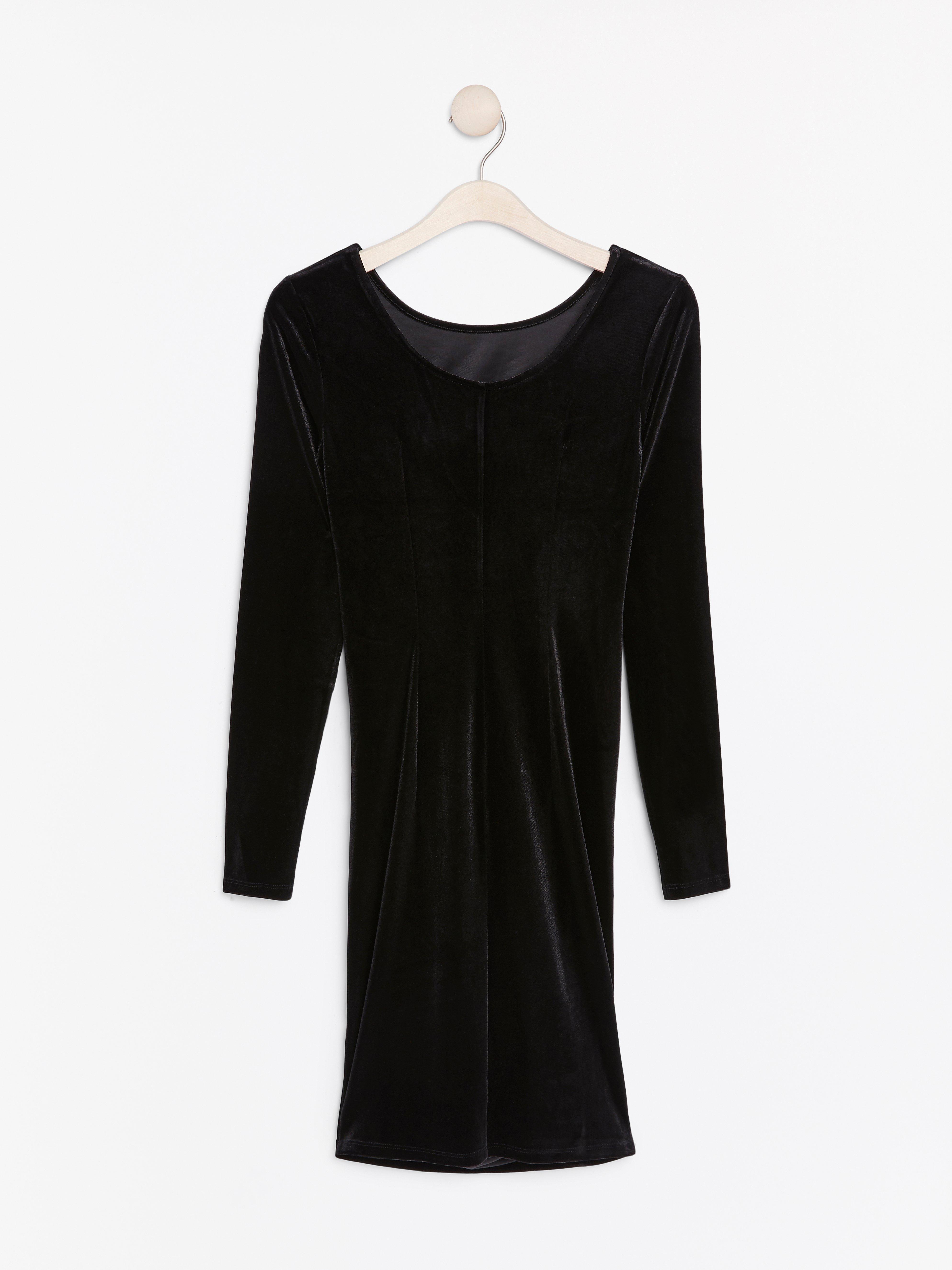 Long Sleeve Black Velvet Dress Lindex Europe