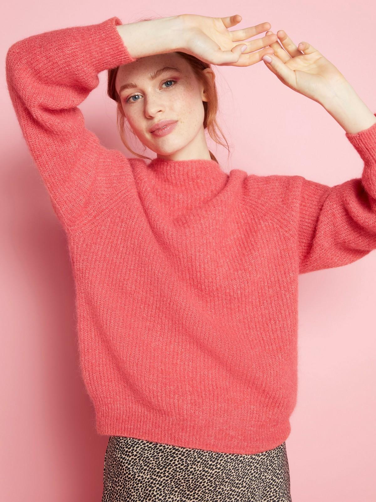 Rosa stickad tröja i alpackablandning