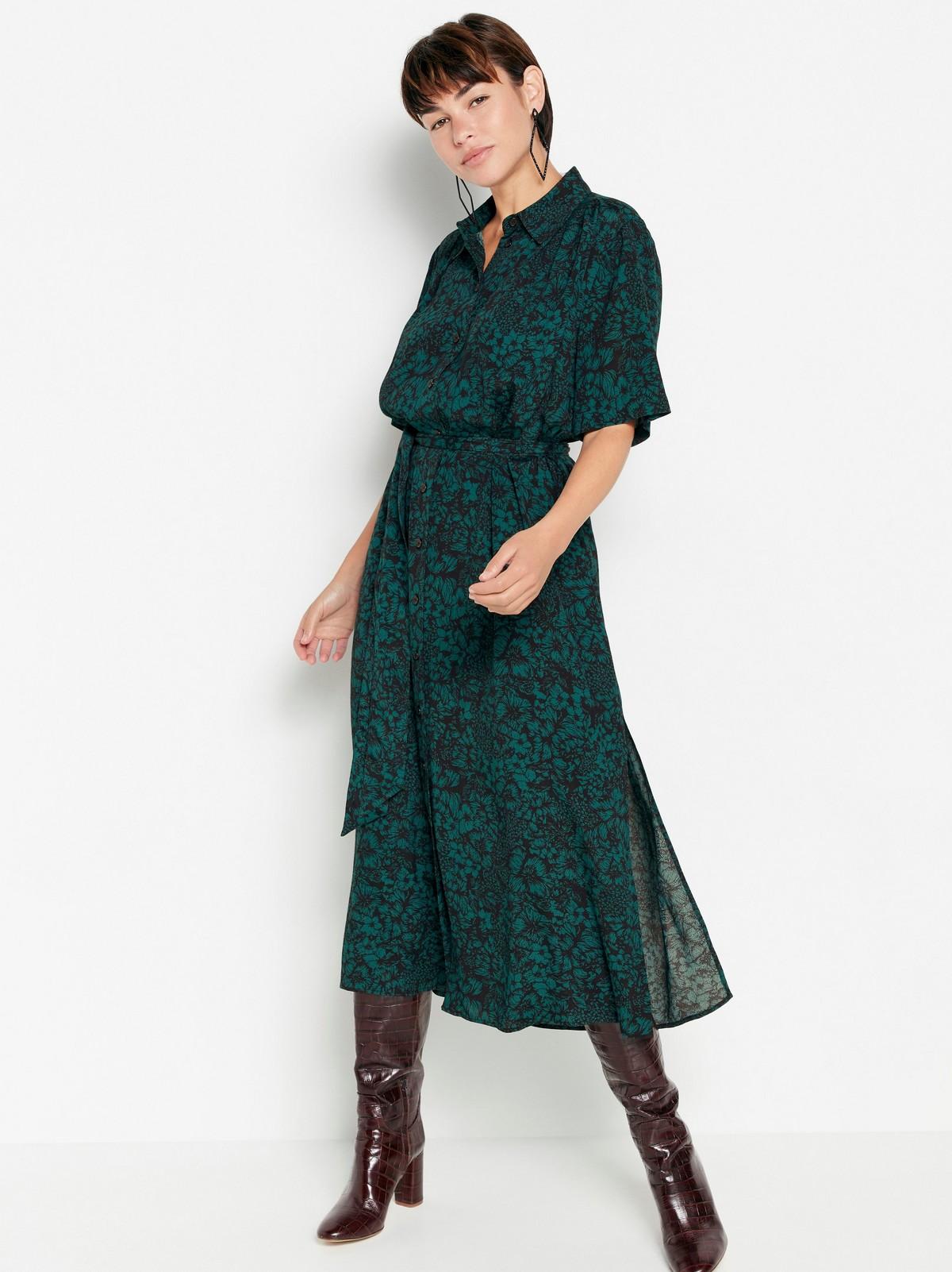 Mönstrad grön maxiklänning   Lindex