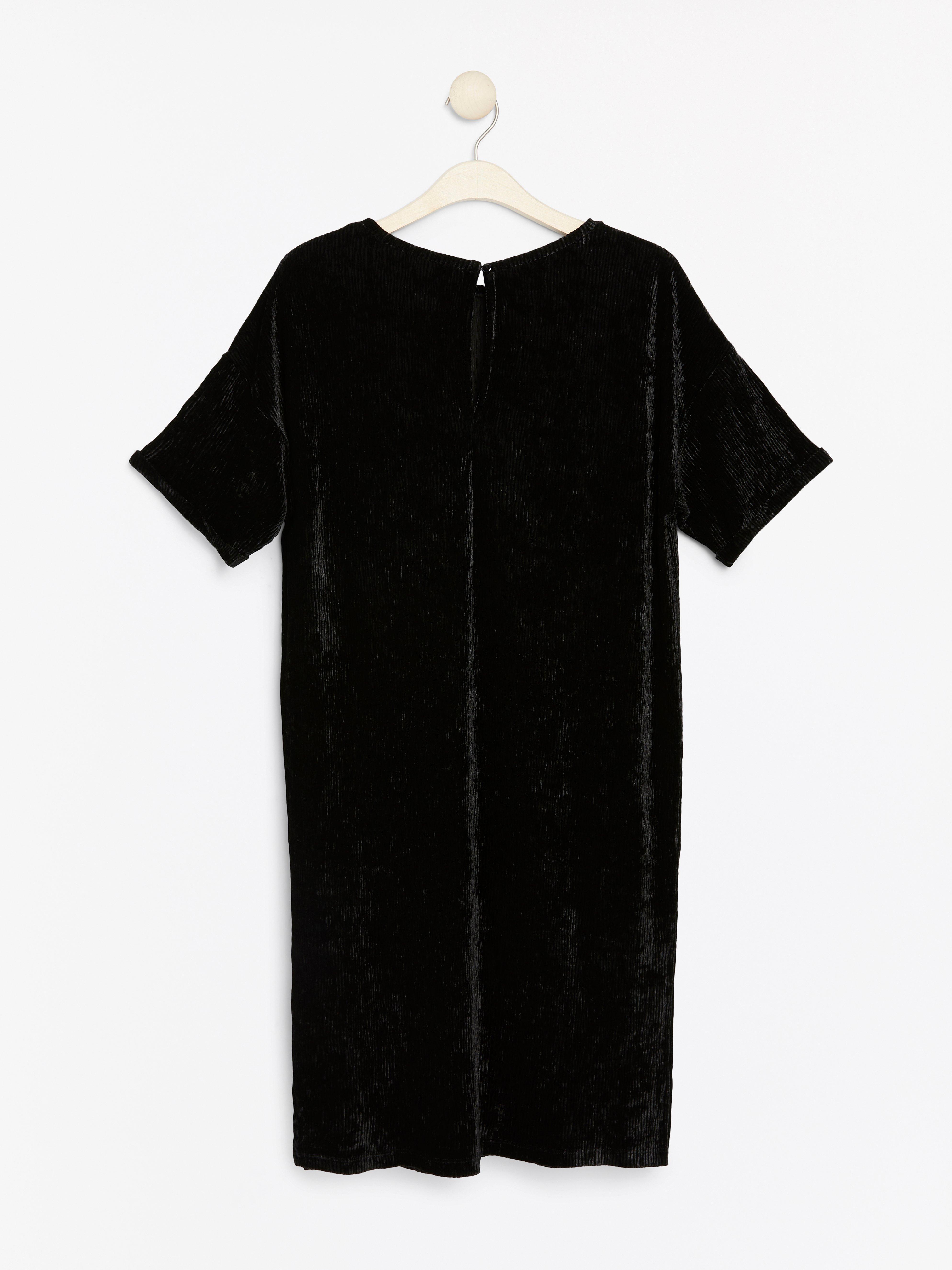 Short Sleeve Black Velvet Dress Lindex Europe