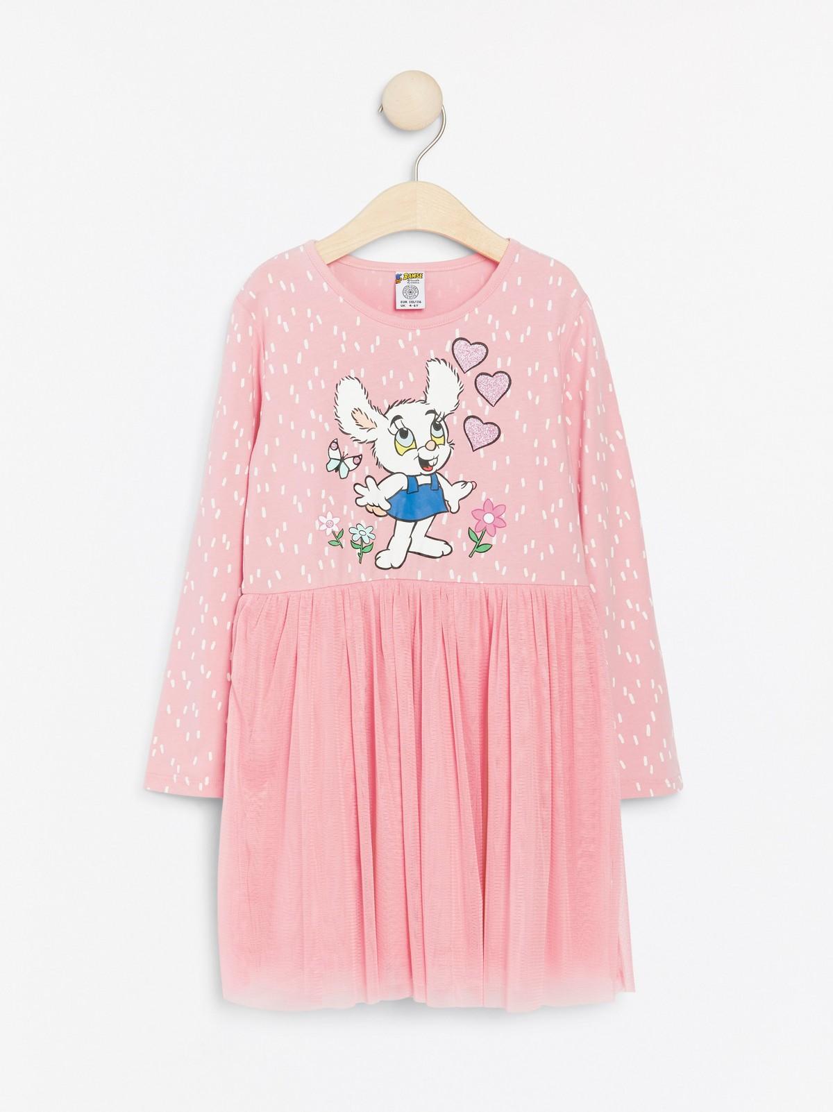 Rosa klänning med Bamse tryck och tyllkjol Klänningar