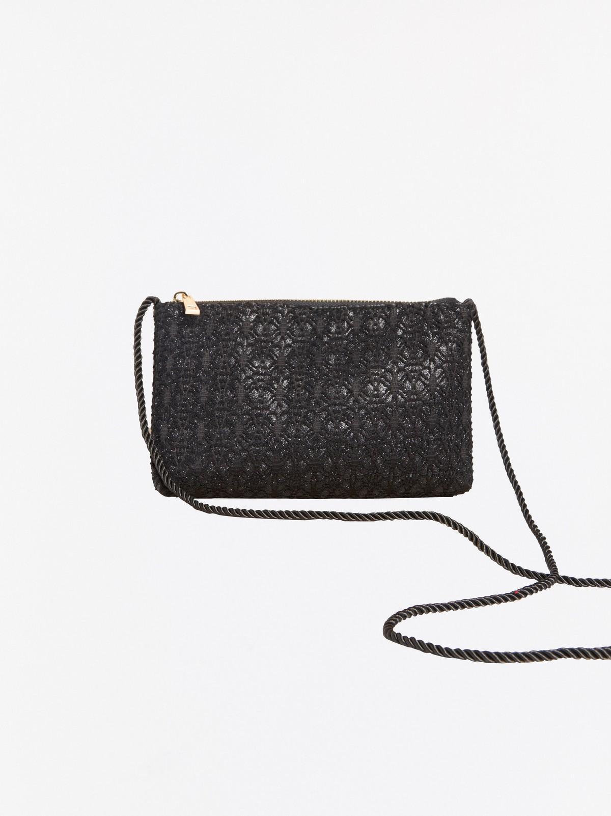Svart jacquardmönstrad väska med glitter