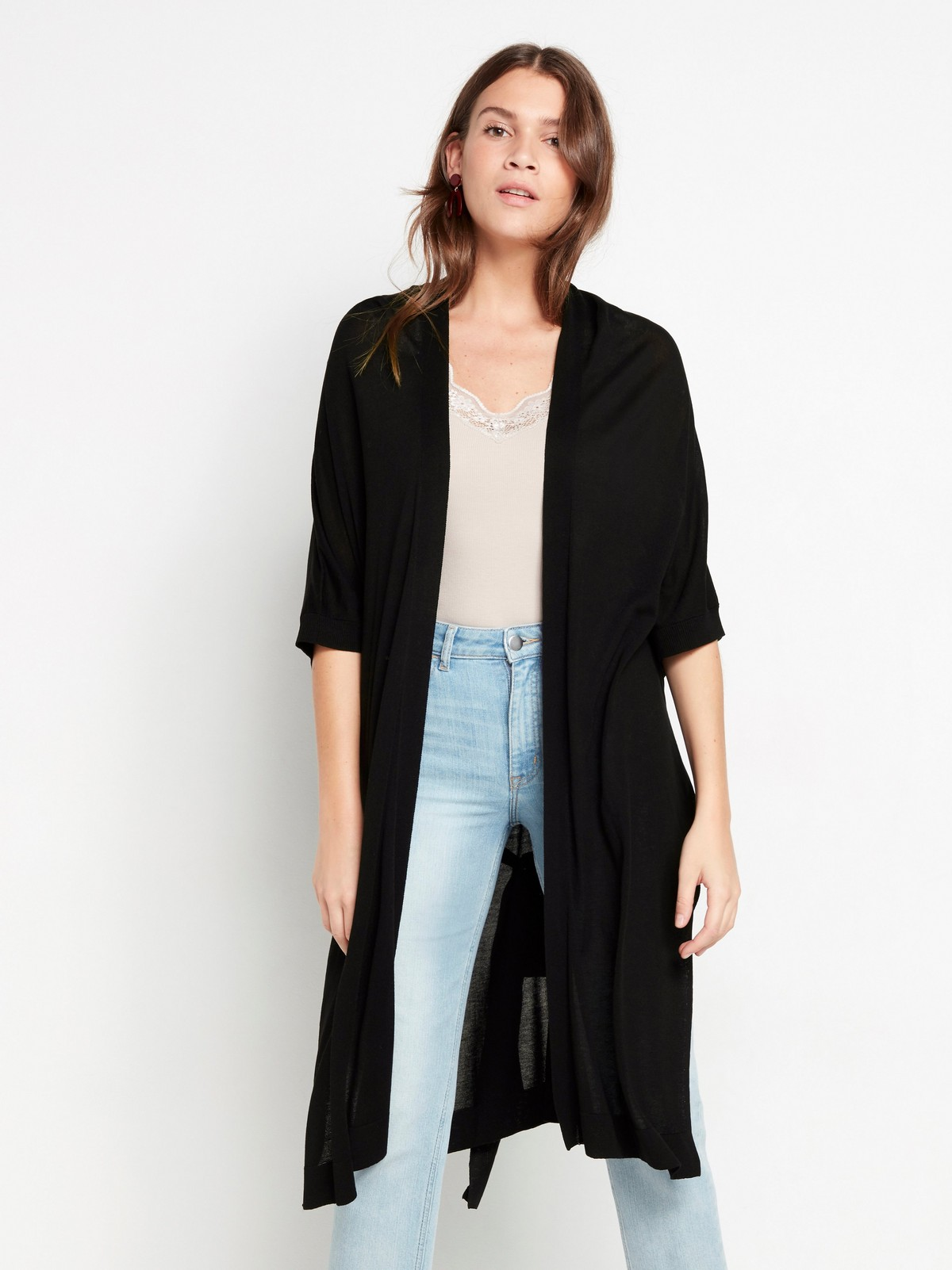 Black cardigan in lyocell blend with tie belt
