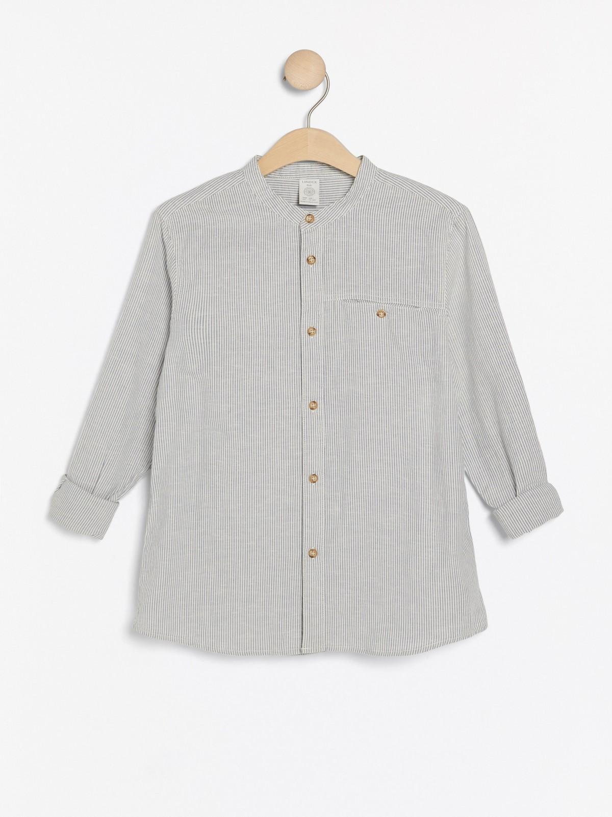 krageløs skjorte grå