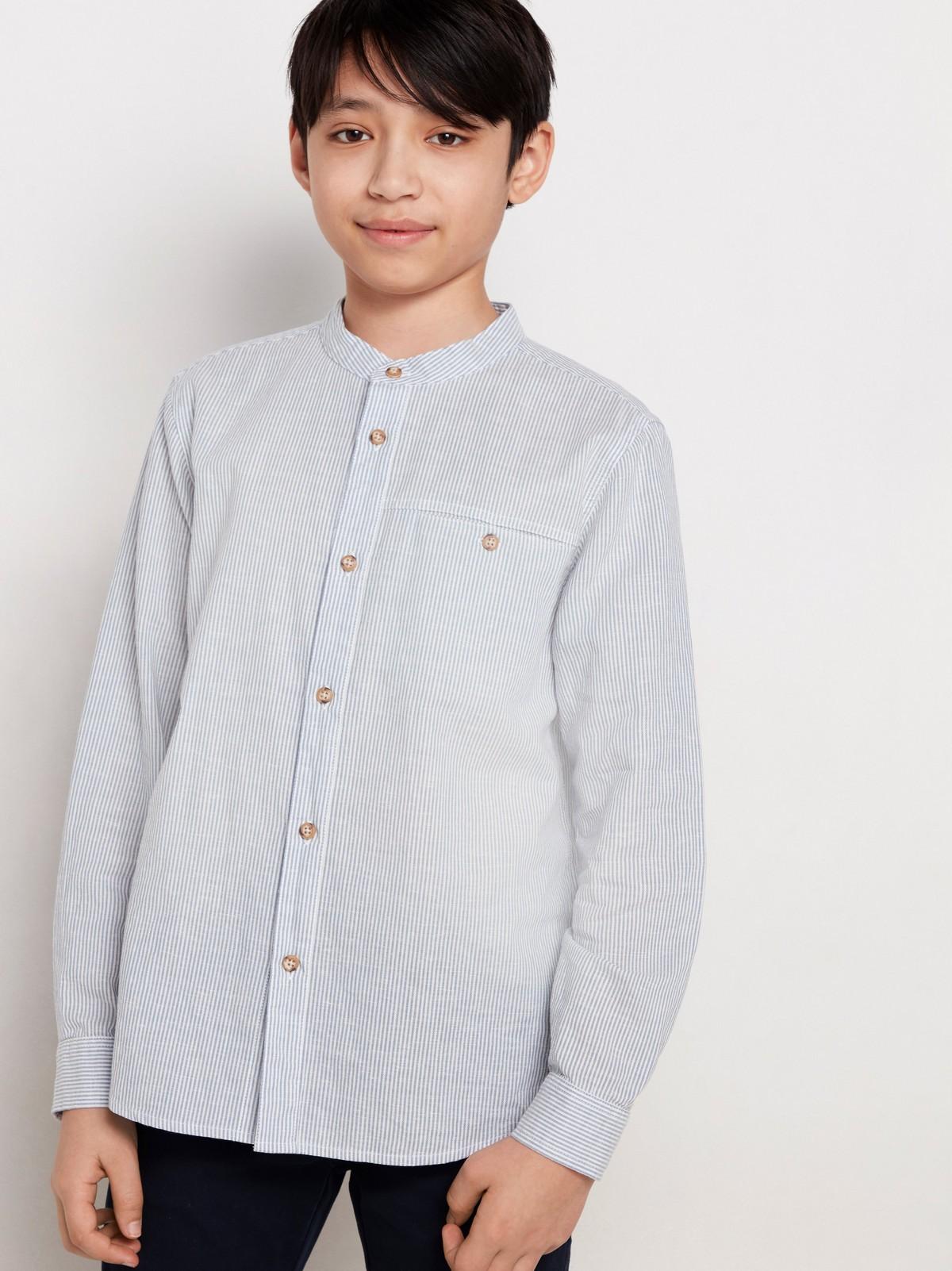 Stripete, krageløs skjorte i linblanding | Lindex