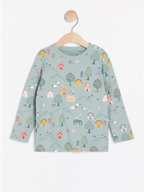 Long sleeve top with house print