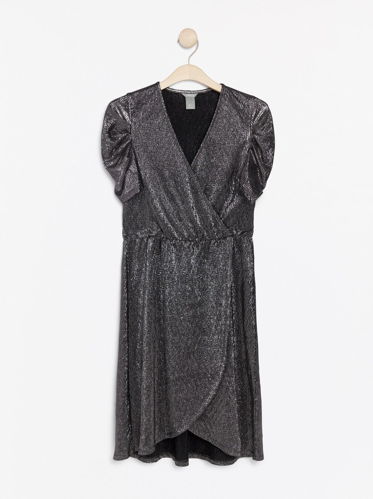 Silverfärgad kortärmad klänning | Lindex