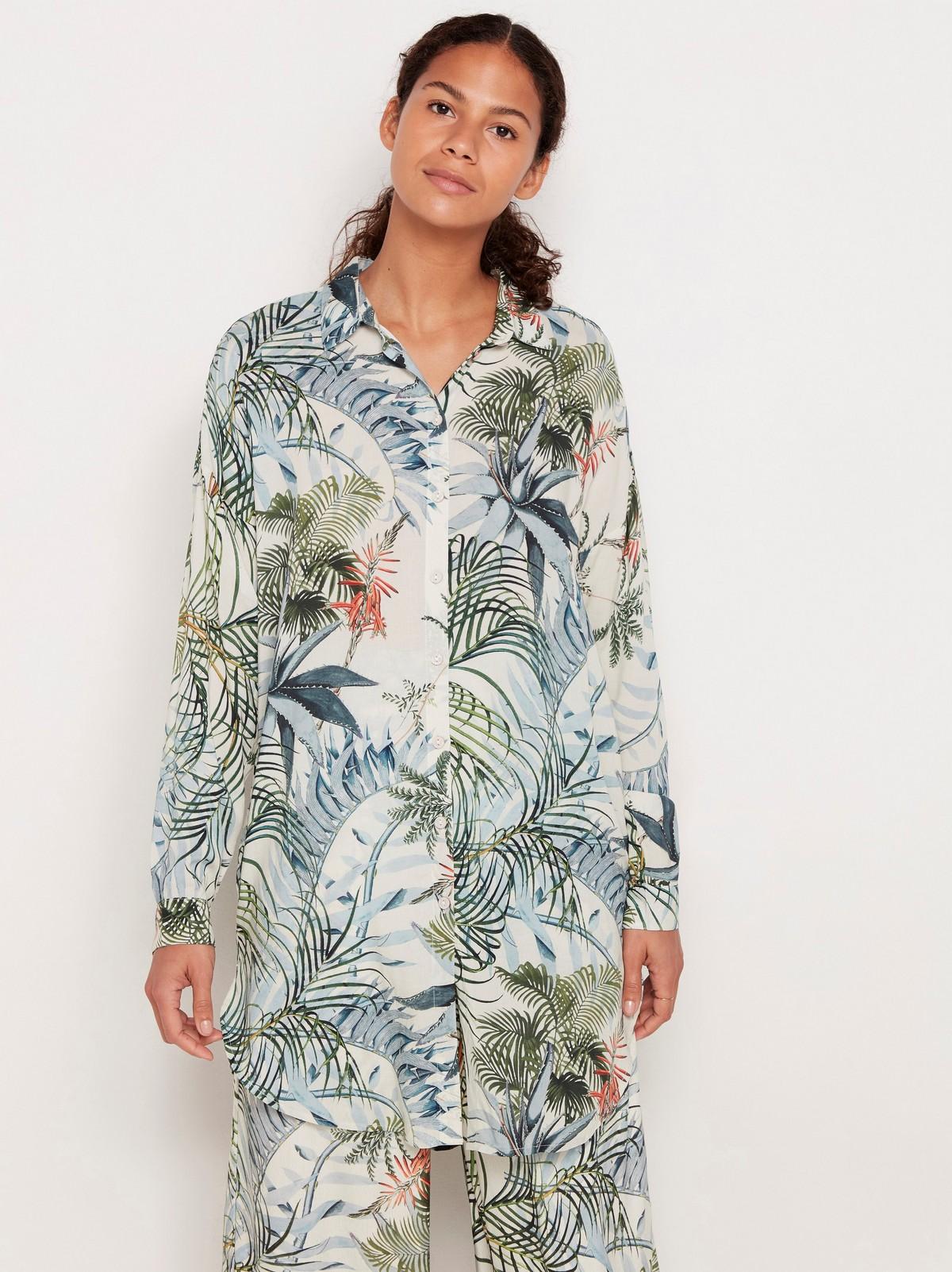 Lang skjorte i linblanding | Lindex