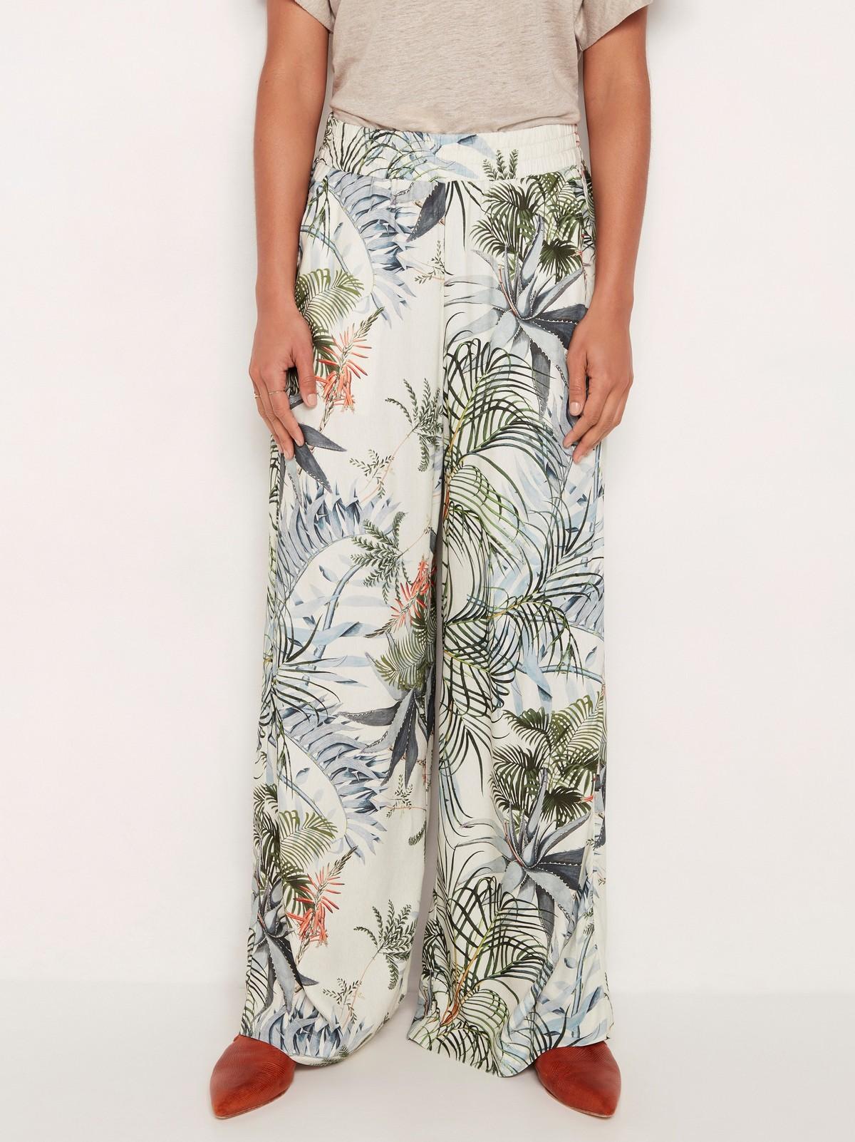 Mønstret bukse med høyt liv og vide ben