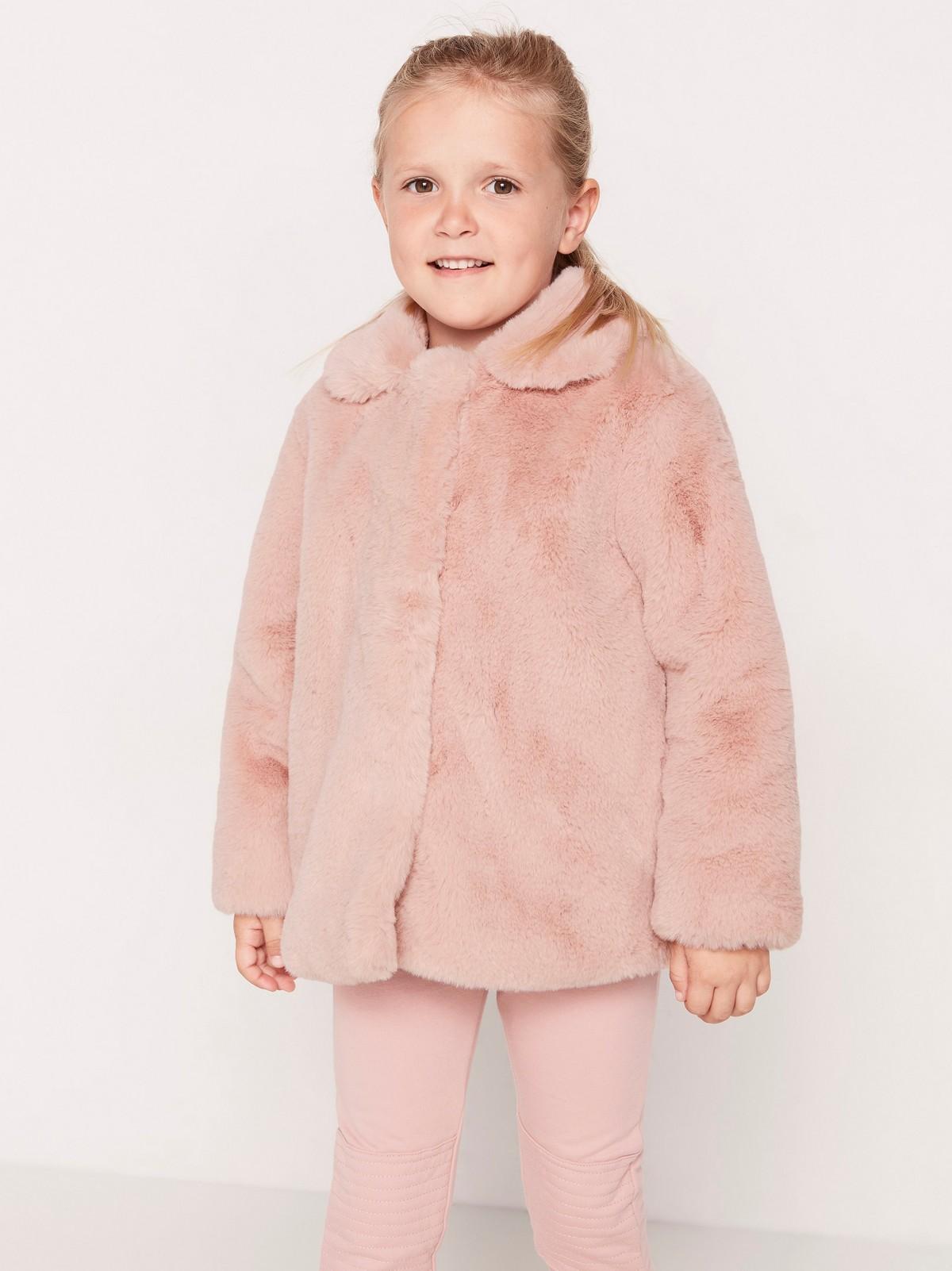 Jakke med rosa fuskepels