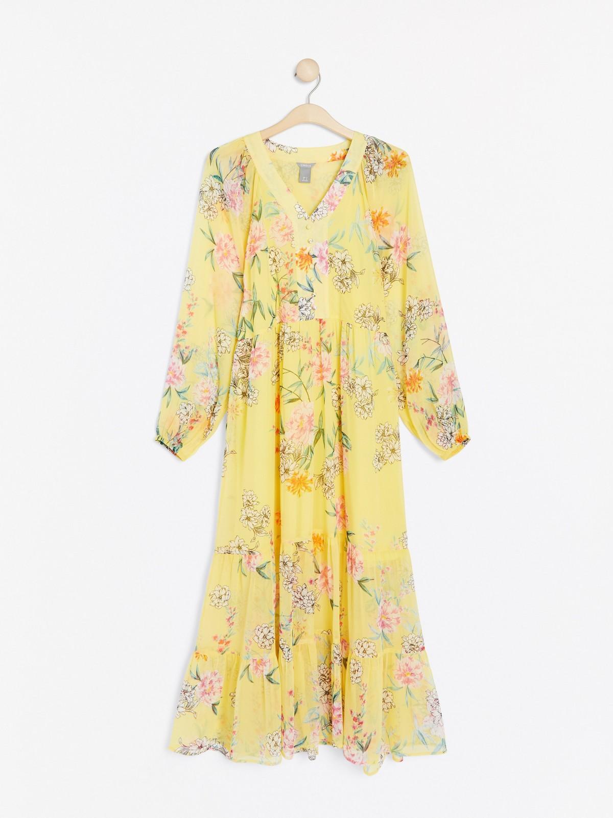 Ella Beige klänning med djurmönster och gula blommor