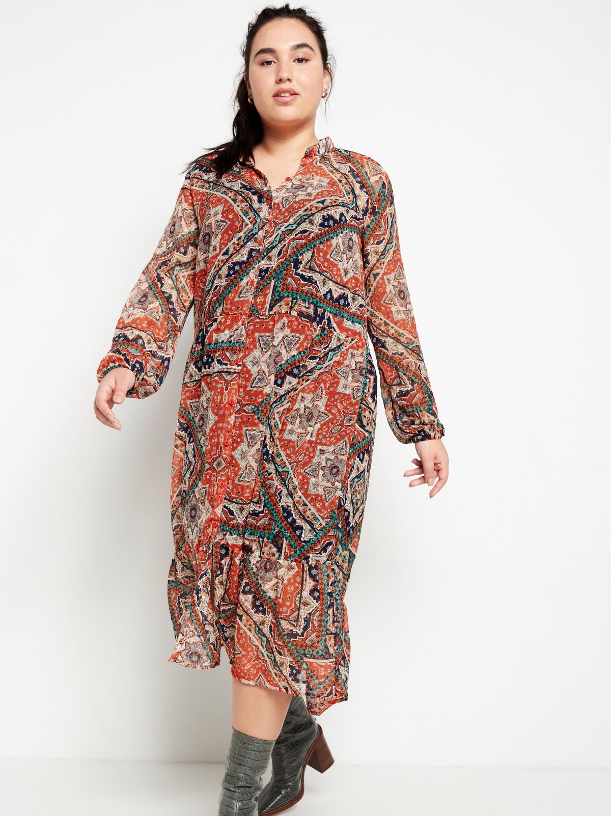 Mönstrad meshklänning | Lindex