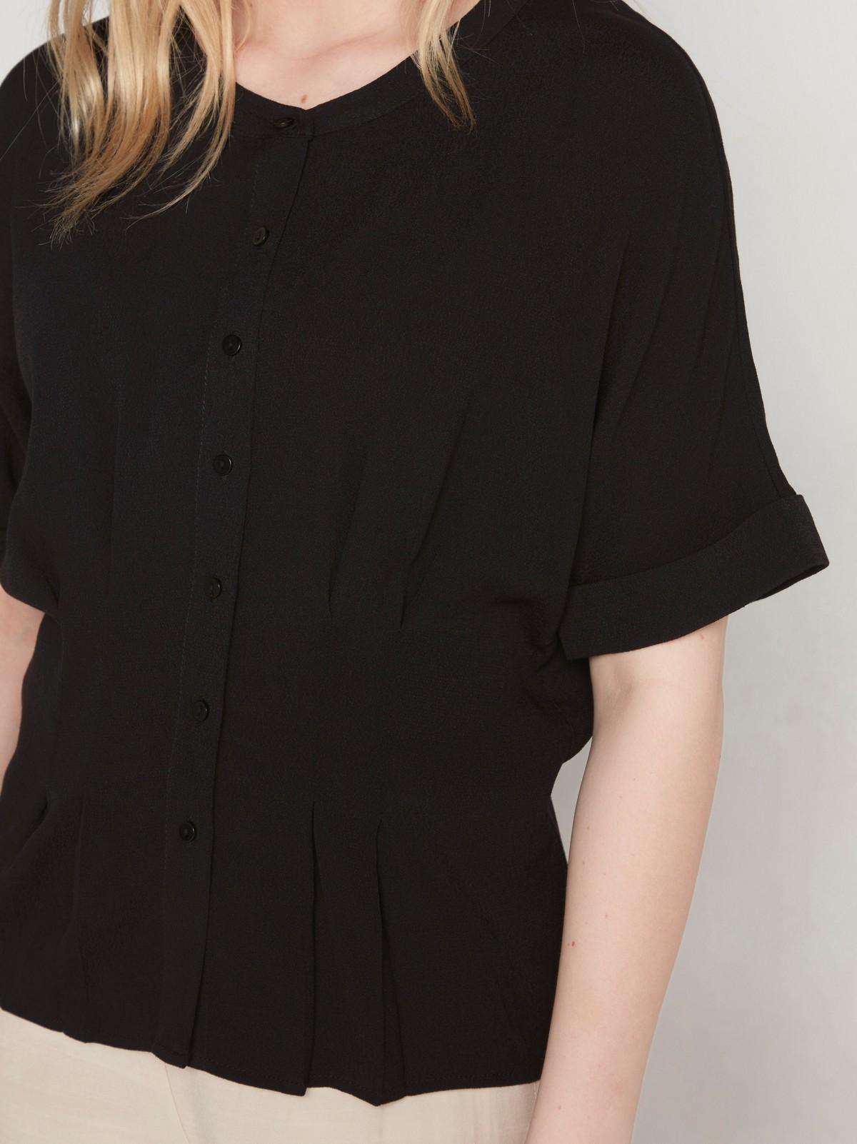 Svart, kortermet bluse i viskose | Lindex