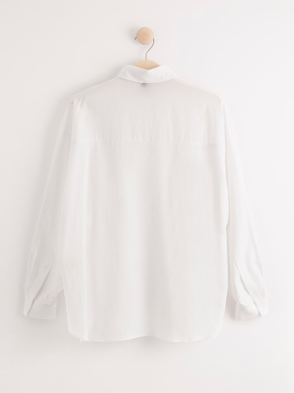 Skjorte i hvit lyocell og lin | Lindex