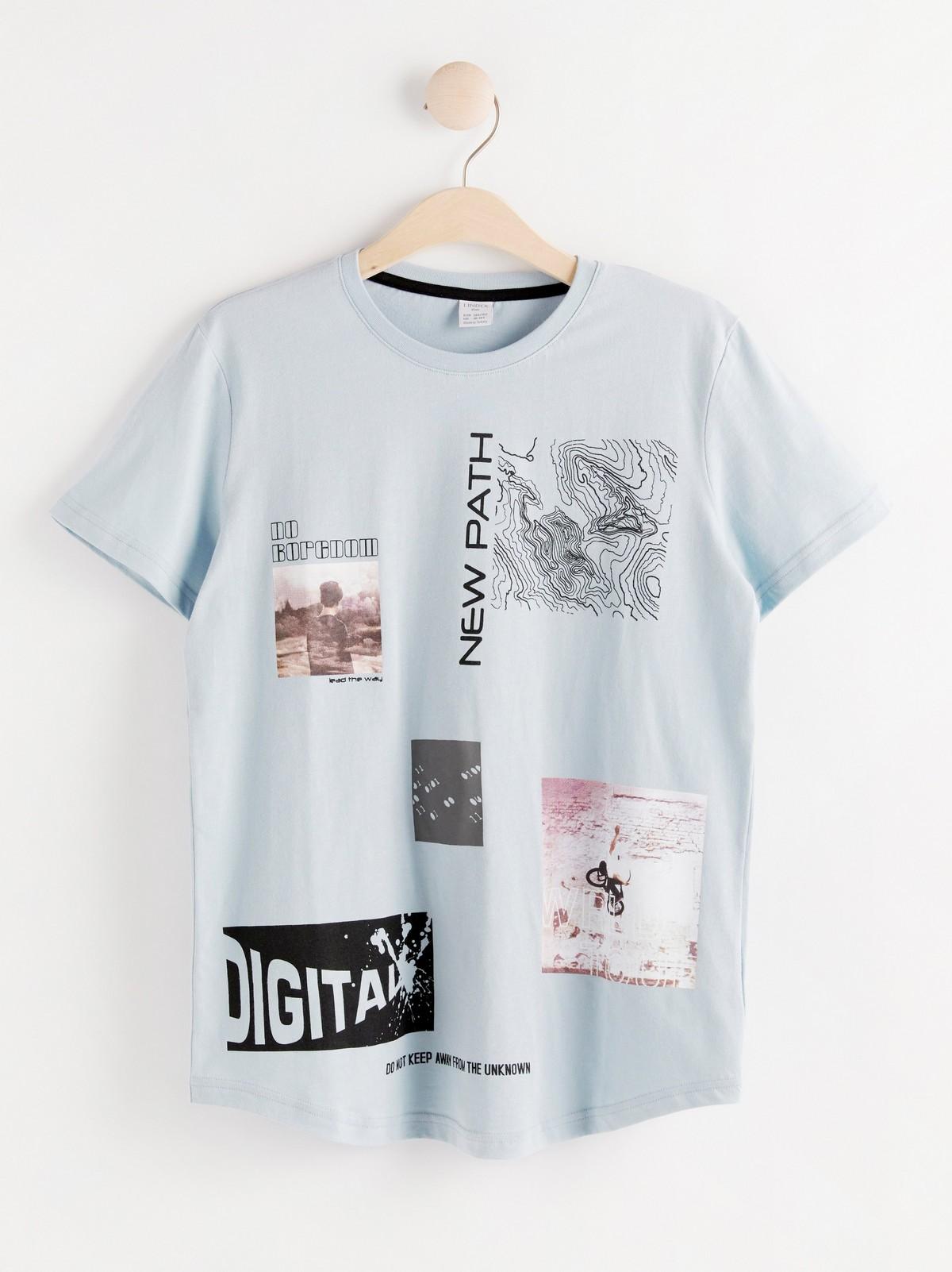Kortermet T skjorte med trykk | Lindex