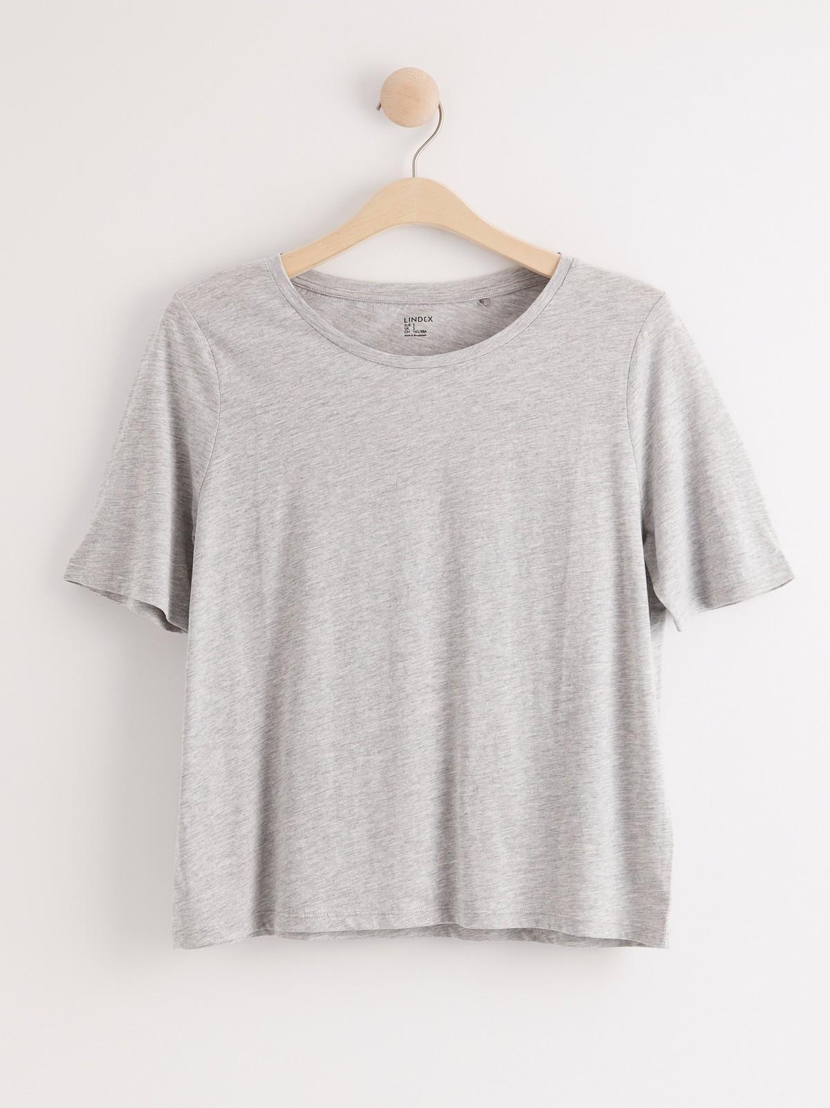 Kortermet bomulls t skjorte | Lindex