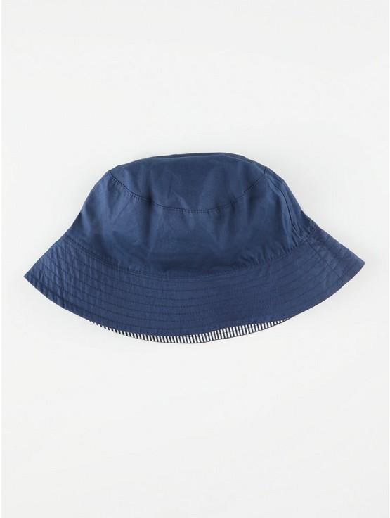 Vändbar bucket hat med randigt mönster