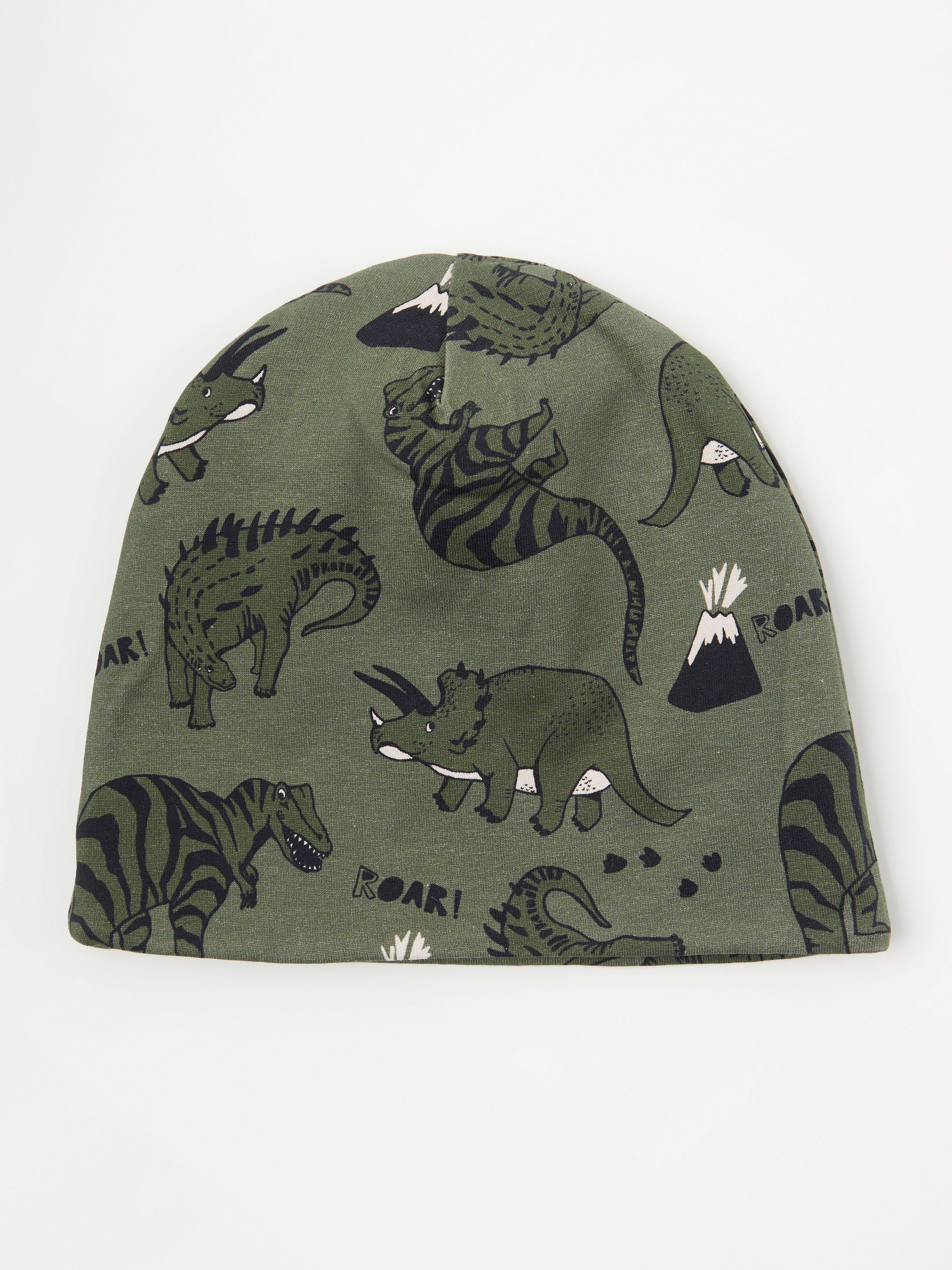 Trikåmössa med dinosaurier