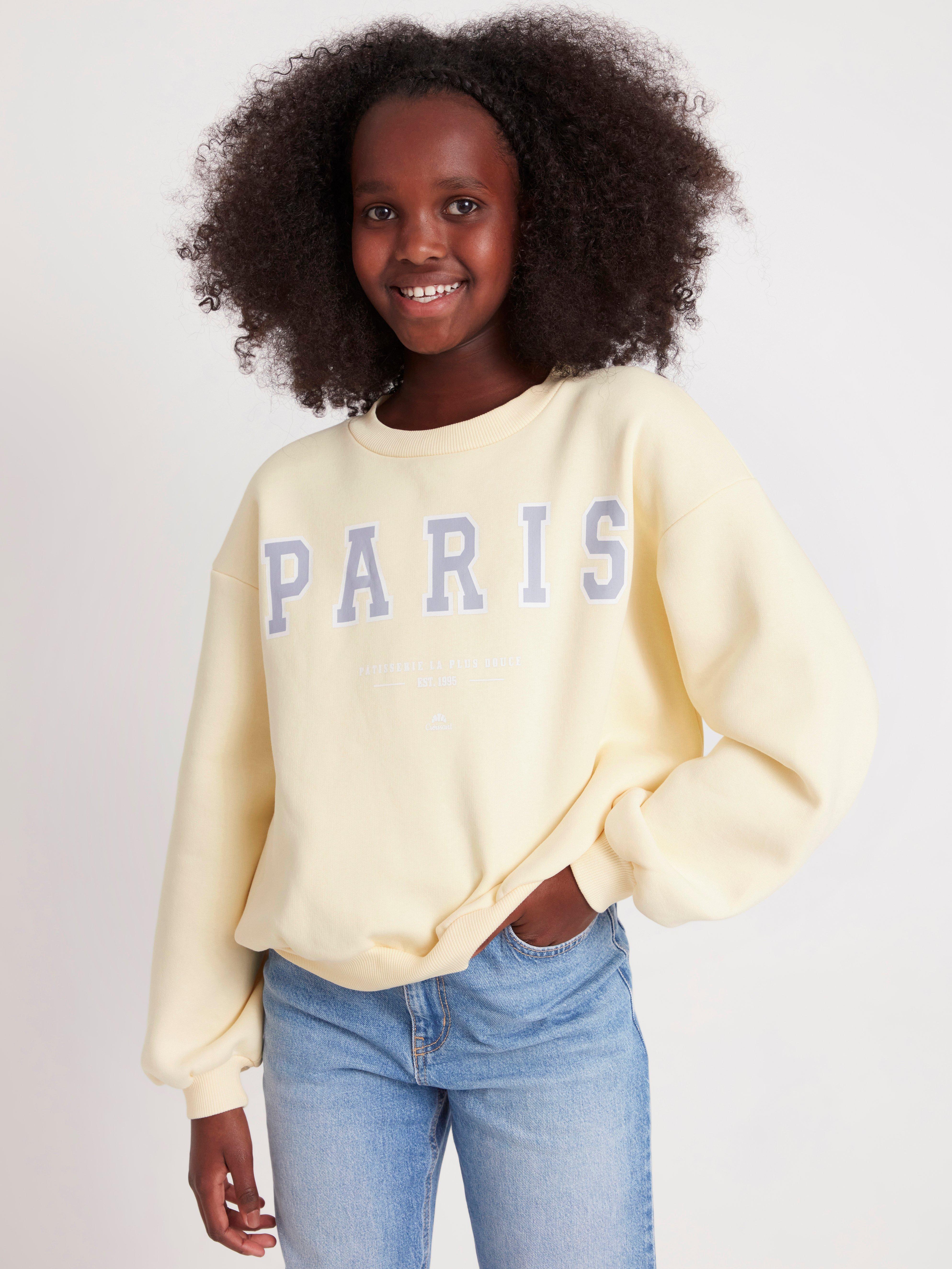 Sweatshirt med borstad insida och tryck