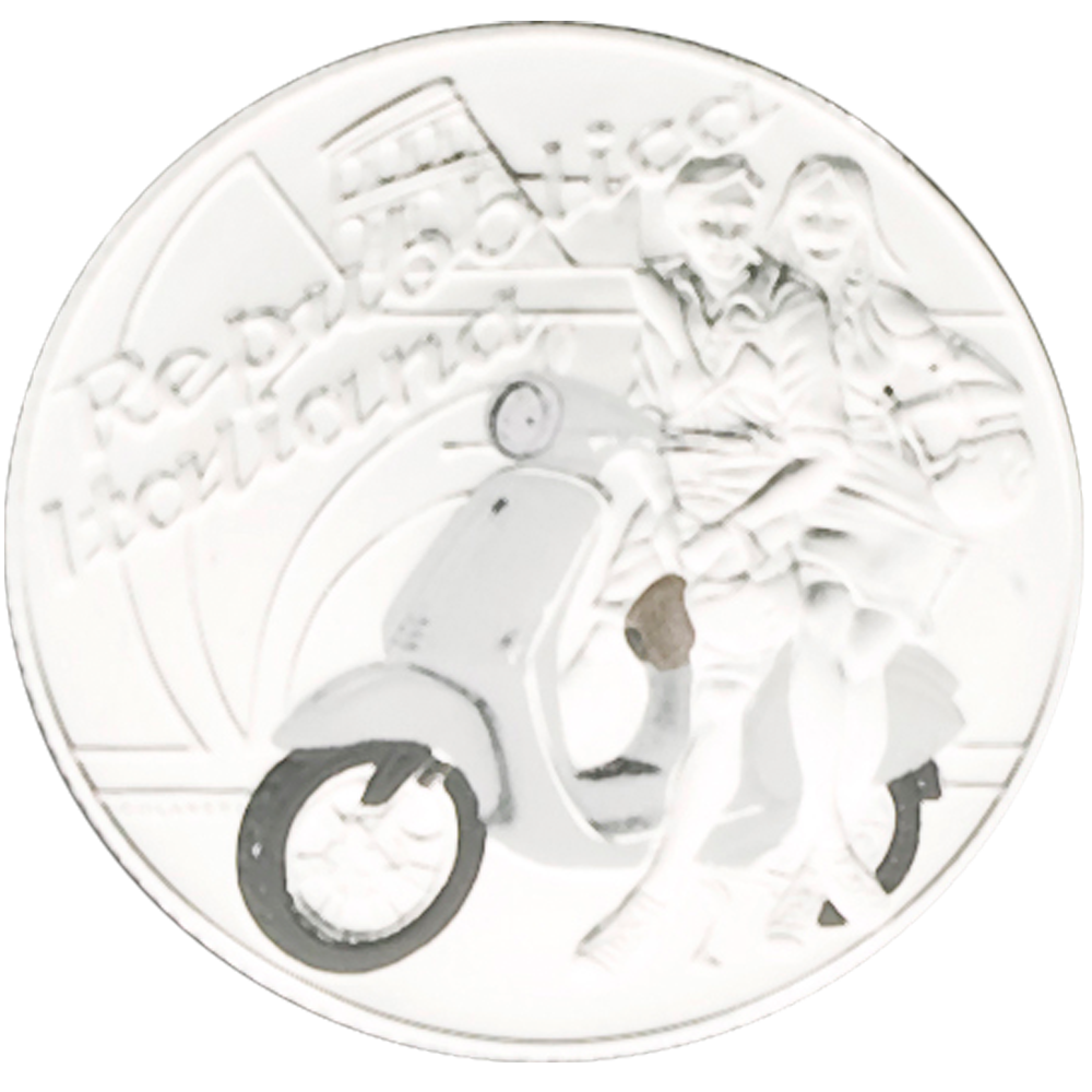 5 Euro Italian Excellences - Vespa weiß 2019 ST