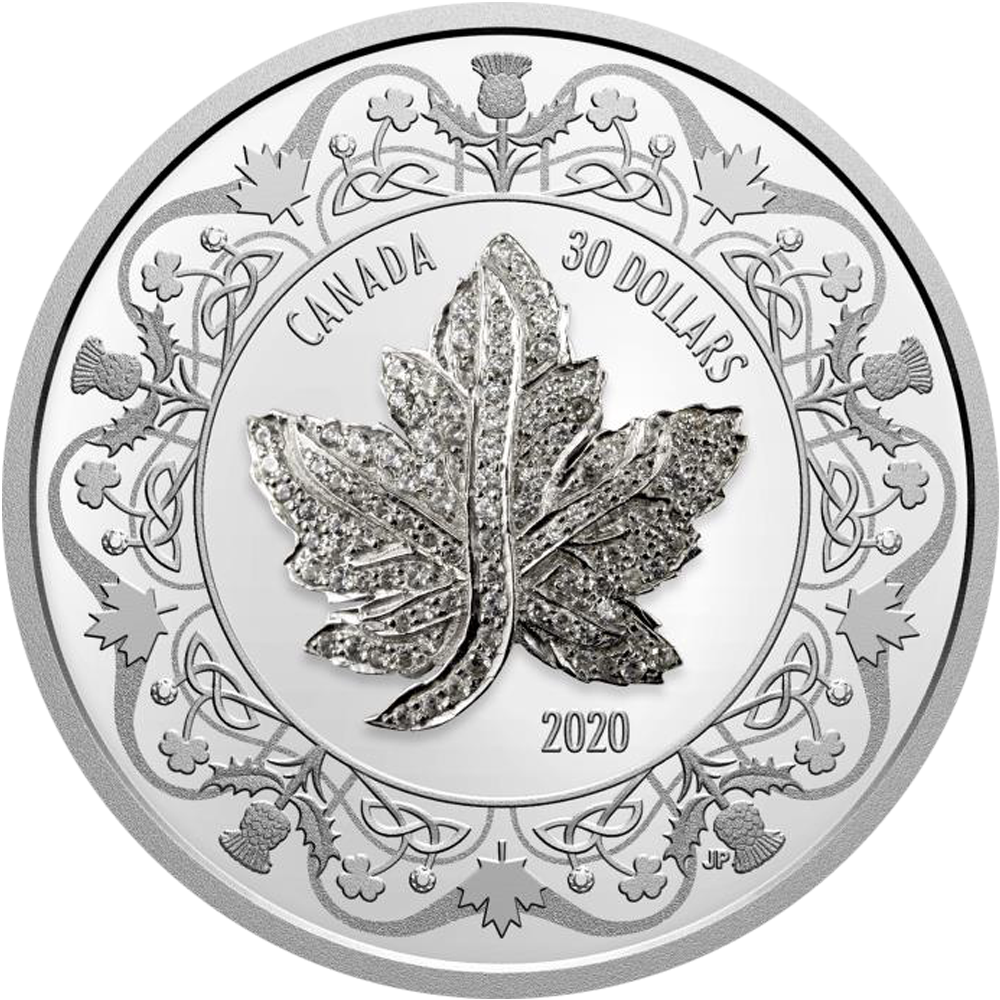 30 CAD Silbermünze 2020 Maple Leaf Brooch Legacy PP