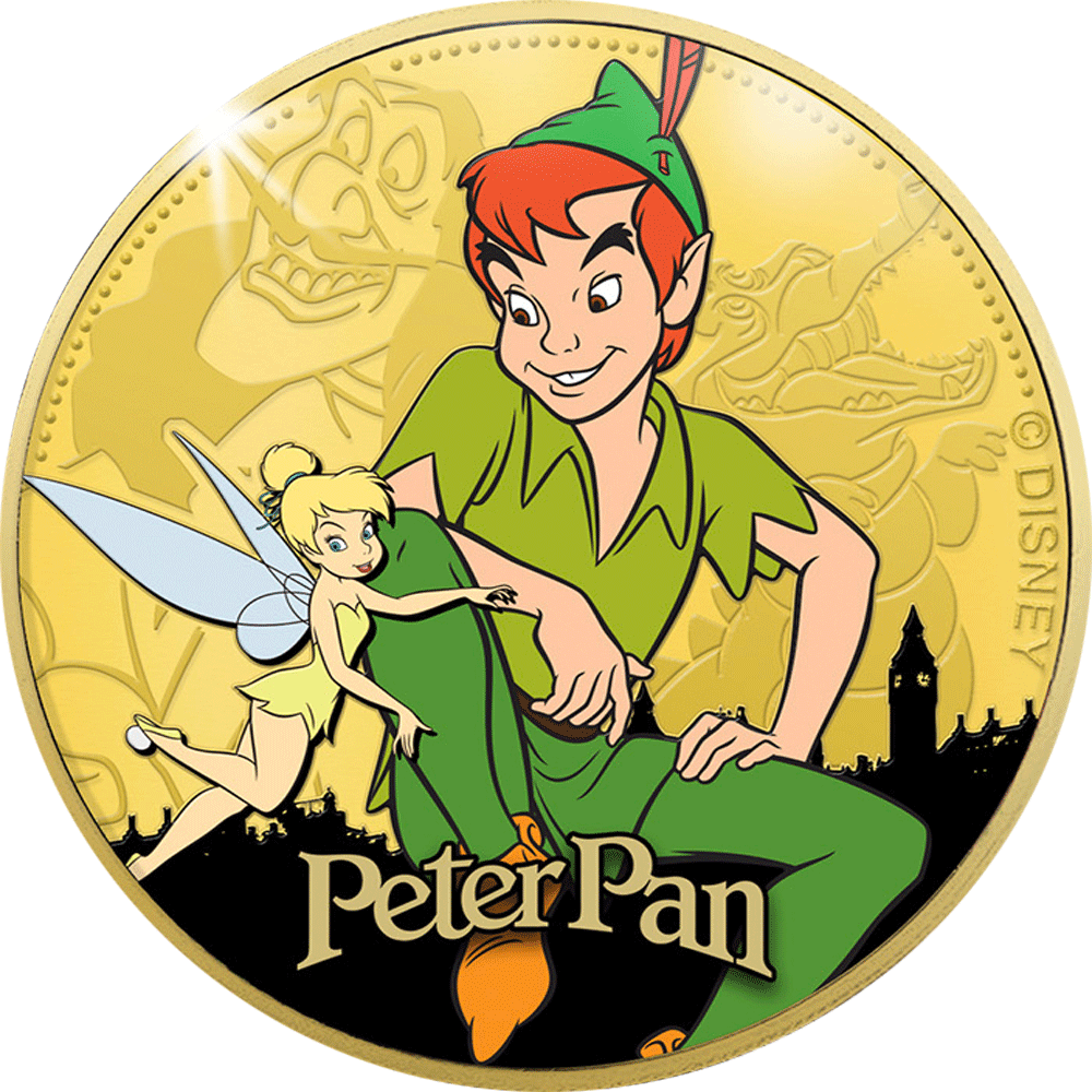 Gedenkprägung Disney Peter Pan 24-Karat goldveredelt